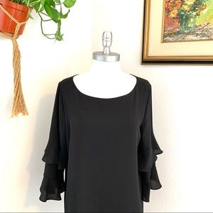 5/$25 Calvin Klein Tiered Bell Sleeve Blouse Black